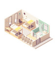 isometric hostel room cross-section vector image vector image