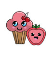 kawaii cherry cup cake and apple icon with vector image