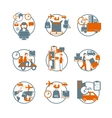 logistic circle grey orange icons set vector image vector image