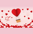 love flying heart hot air balloon background vector image