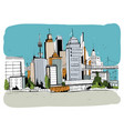 megalopolis city street hand drawn vector image vector image