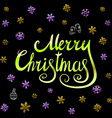 Merry Christmas - green glittering lettering vector image vector image