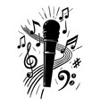 microphone and music notes hand drawn vector image vector image