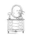 Mirror and commode for make up vector image vector image