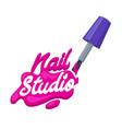 nail art studio logo design concept brush with vector image vector image
