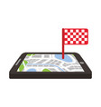 navigation gps device and city map with finish vector image vector image