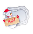 paper cut of cute snowman vector image vector image