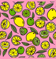pattern with lemon and lime on a pink background vector image