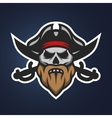 Pirate captain skull and swords vector image