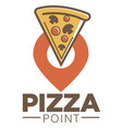 pizza point cafe promotional logotype with piece vector image vector image