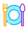 plate fork and spoon sign thin line icon vector image