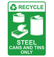 recycle sign - steel cans and tins only vector image vector image