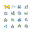 road accidents - set of line design style icons vector image vector image