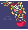 Salad Ingredients Flying Into Bowl vector image vector image