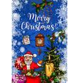santa claus with gift bag christmas greeting card vector image vector image