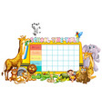 school timetable template with african animals vector image