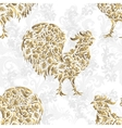 Seamless pattern with golden rooster on black vector image vector image