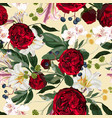 seamless pattern with red peony roses vector image vector image
