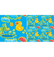 seamless pattern with rubber duck and boots vector image vector image