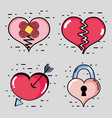 set different hearts shapes decoration design vector image