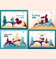 set flat 2d doing yoga outdoors in park vector image