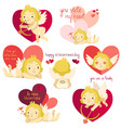set of cartoon cupid with hearts and lettering vector image