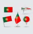 Set of Portuguese pin icon and map pointer flags vector image