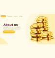 stack golden dollar coins isolated on white vector image vector image