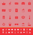 Summer color icons on red background vector image