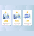 transport rental mobile app onboarding screens vector image vector image