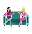 two women sitting on a sofa talking and eating a vector image