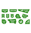 vegan green ribbons and banners veggie tags and vector image