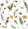 watercolor dandelion blowball pattern vector image