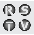 Capital letter R S T V of wide white stripes vector image