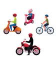 people riding bicycle scooter motorcycle urban vector image