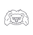 hedgehog head line icon sign vector image