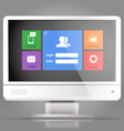 Modern lcd monitor with tile interface vector image