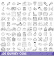 100 journey icons set outline style vector image vector image