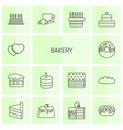 14 bakery icons vector image vector image