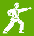aikido fighter icon green vector image vector image