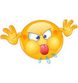 angry emoticon with tongue out vector image vector image