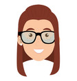 beautiful and young woman head with glasses vector image vector image