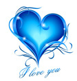Blue heart with i love you text vector image