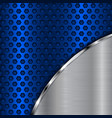 blue metal perforated background with brushed vector image vector image