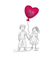 boy and girl with a heart-shaped balloon vector image