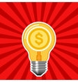 Business concept with light bulb and red rays vector image vector image