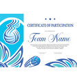 certificate volleyball tournament participation vector image vector image