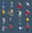 dancing people isometric set vector image vector image