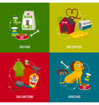 Dog care objects square compositions cartoon food vector image vector image