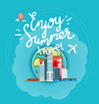 enjoy summer travel concept with calligraphic vector image vector image
